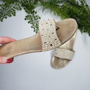 Stuart Weitzman napoli pearly crystal slide sandal